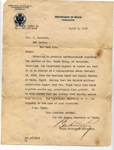 Letter notifying of Death of Chuma Honig
