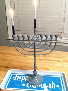 Happy Chanukah! We light the first candle and….